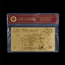 WR Gold Plated Bank Note UK £50 Pounds Plated Banknote Bill W/ Free PVC Frame