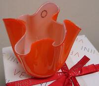 Vaso arancione fazzoletto opalino venini - vetro di murano