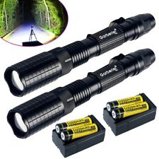 2Sets Tactical Police 90000Lumen T6 LED Flashlight Aluminum Torch Zoomable 18650