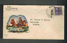 1944 USA Patriotic Cover Scotia SC Sailing for Victory US NAvy to Belleview FL