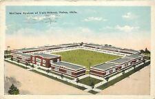 Tulsa Oklahoma~McClure System Of Unit School~Birdseye~Playgound in Middle~1915