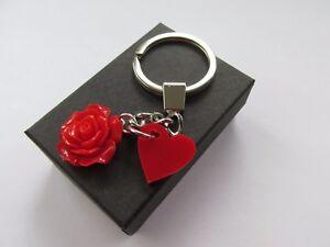 Handmade Pretty Red Heart  & Red Flower Pendant Charm Chain Keyring - Gift Idea
