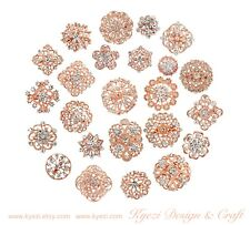 24 pc Assorted Alloy Rose Gold Rhinestone Crystal Brooches Wedding Bouquet Cake