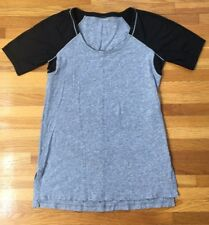 Women's LULULEMON Short Sleeve Work out shirt /Black Gray /Size See Measurements
