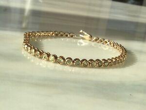 9ct Solid Hallmarked Gold Chrysoberyl Bracelet. Heavy 9.6grms. COA.