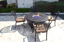 "Outdoor propane fire pit 5 piece set 52"" round table 4 Elisabeth dining chairs"
