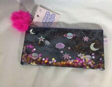More Than Magic Galaxy Pencil Pouch Black Glittery Space Theme W/Pom-Pom BNWT!