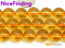 Round Citrine Loose Stone Beads For Jewellery Making Gemstone Free Shipping 15""