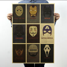 "28x 20"" 72x51CM Mask Ironman Starwar Batman Scream Vintage Retro Poster 155"