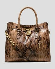 Michael Kors Hamilton NS Large Sand Brown Python Snake Embossed Leather Tote NWT