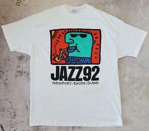 Vintage 1992 Jazz Festival Big Head Art Tee/Keith Haring Style T-shirt (size XL)