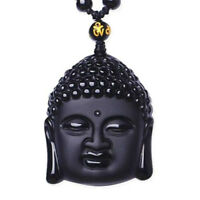 Natural Black Obsidian Hand-Carved Lucky Buddha Amulet Pendant +Beads Necklace ♫