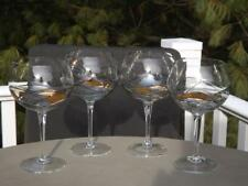 "4 Romania Milano Noir Wine Glasses 8"" Tall EXC"