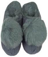 Ruby + Ed ladies designer grey knit fur pom pom mule slippers new sizes UK 3- 8