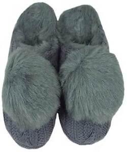 slippers Ruby + Ed ladies designer grey knit fur pom pom mule new sizes UK 3 - 4
