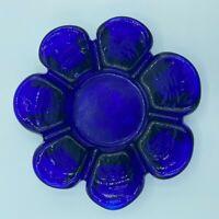 """VINTAGE MCM COBALT BLUE GLASS ASHTRAY FLOWER SHAPE 6 PETALS 6"""" DIAMETER - EUC"""