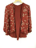 Vtg Womens Cardigan Jacket Embellished Beaded Boho Hippie Festival Rust  (D2)