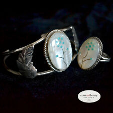*Vintage Zuni Mother of Pearl Turquoise Silver Bracelet & Ring Set BEAUTIFUL