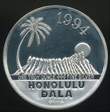 Royal Hawaiian Mint 1994 Honolulu Dala 1 Troy Oz .999 Fine Proof Silver Round