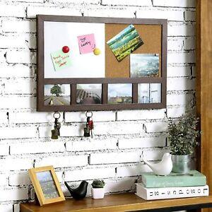 Wooden Combination Whiteboard & Cork Memo Board w/Key Hooks & Picture Frame Slot