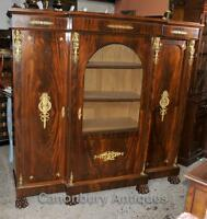 French Antique Bookcase - Empire Cabinet in Flame Mahogany