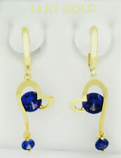 TANZANITE 2.28 Cts DANGLING EARRINGS 14K YELLOW GOLD * New With Tag *