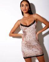 MOTEL ROCKS Tishe Bodycon Dress in Mesh Sand Leopard S Small (mr19)