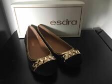 RRP$180 ESDRA Black w/ gold leather flat shoes -EU37/US 7/AU 6/UK 4
