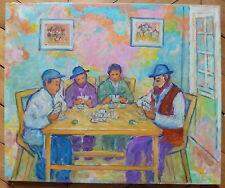 Nathan Gutman huile sur toile signée Judaica Art Ecole de Paris partie de cartes