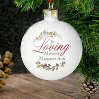Personalised Christmas Tree Bauble Personalised In Loving Memory Wreath Bauble
