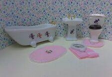 Dollhouse 1:12 bath set tub/toilet & sink w/mirror. Inc pink towels & rug set