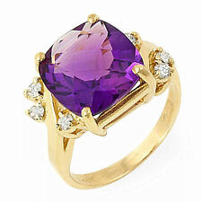 5.0 ct vvs ntrl amethyst and diamond 14k gold ring