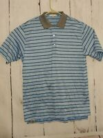 Peter Millar Summer Comfort Golf Polo Shirt Blue Black Stripe Mens Size Large L