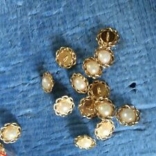 50pcs  pearl with gold metal  buttons fit sewing scrapbooking supplies shanks