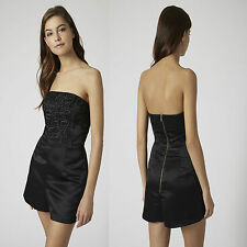 TOPSHOP Black Cornelli Strapless Bandeau Playsuit Jumpsuit Size 8 Party rrp£60