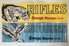Nos Vintage Original Savage Stevens Fox Rifles & Shotguns Advertising Paper Sign
