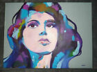 Original Acrylic painting Pop Art Painting Signed Abstract Portrait Colorful SEE