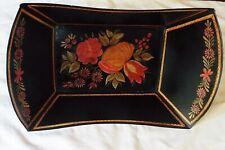 Black Tole Floral Metal Serveware Deep Bread Tray Antique Reproduction