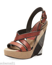 Burberry Brit Canvas Check & Leather Warlow Crisscross Wedge Sandals Size 9