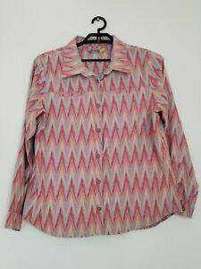 Women's Cabela's XL Long Sleeve Flannel Shirt button up Fun bright soft warm -E4