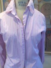 PINK Button Down Striped Shirt 100% cotton white stripes on lavender/purple W 10