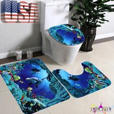 Blue Ocean Fish Bathroom Non-Slip Pedestal Rug + Lid Toilet Cover + Bath Mat US