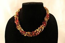 Adjustable Crochet Yarn Necklace Handmade ladder ribbon trellis fall red gold