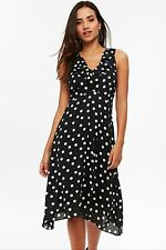 Wallis Tailored Petite Black Polka Dot Midi Fit and Flare Dress 10