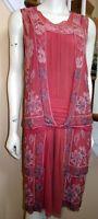 Vintage DECO 1920s Rose Crepe Chiffon Beaded FLAPPER Dress