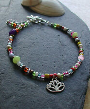 Bright Coloured Glass Beads Lotus Flower Anklet Ankle Bracelet Handmade Hippy