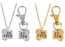 Collar Mujer - Collar Best Friends Perro Collar Colgante Plata Oro Set #B1