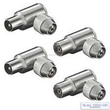 2 x Koax Stecker 2x Koaxial Kupplung Winkel Antennenstecker IEC Metall TV SET