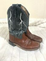 Old West Black Leather Cowboy Western Boots Youth - Size 4 D