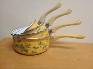 Vintage set of 4 Menastyl Palluy Saucepans Pans with handles Yellow 1970s Floral